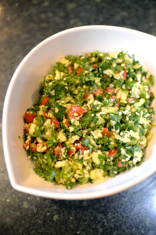 Tabouli with cauliflower, made by Rosemarie Aquilina, Judge of the 30th circuit court in Ingham Country. Saturday December 8, 2018. (Photo by Viviana Pernot)