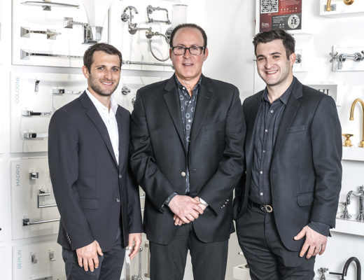 Advance Plumbing & Heating Supply President Jeffrey Moss, center, with sons Vice President Josh Moss, left, and Operation Manager Justin Moss, right, in their new Detroit showroom. The company is a fourth-generation family business. Erin Kirkland for SEEN