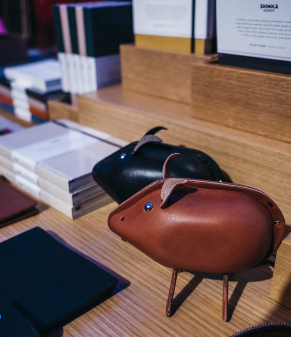 Shinola leather animals featured at a booth .