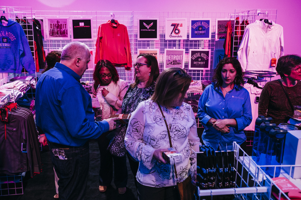 Attendees peruse Detroit and GM-centric clothes at Be The Spark.