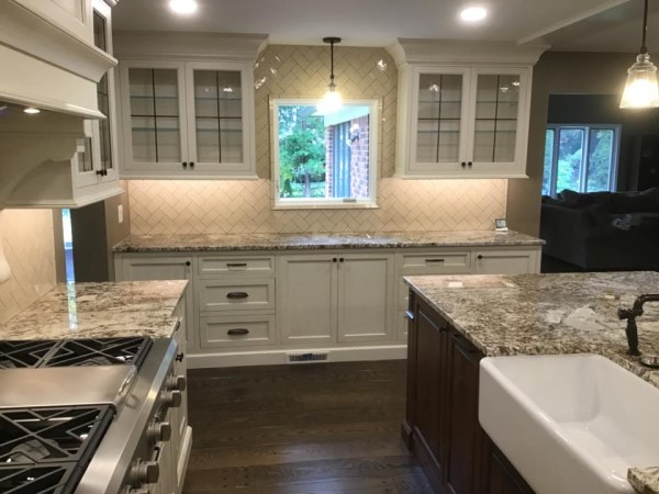 Kitchen with classic marble countertops