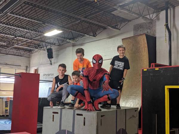 Boys and Spiderman at Phoenix Freerunning Academy
