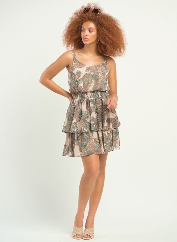 Tiered Dress in Paisley Print