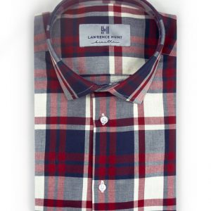 """Elliot""- Red and Blue Plaid: No Sweat Dress Shirt"