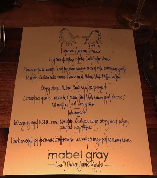 Equinox Dinner at Mabel Gray