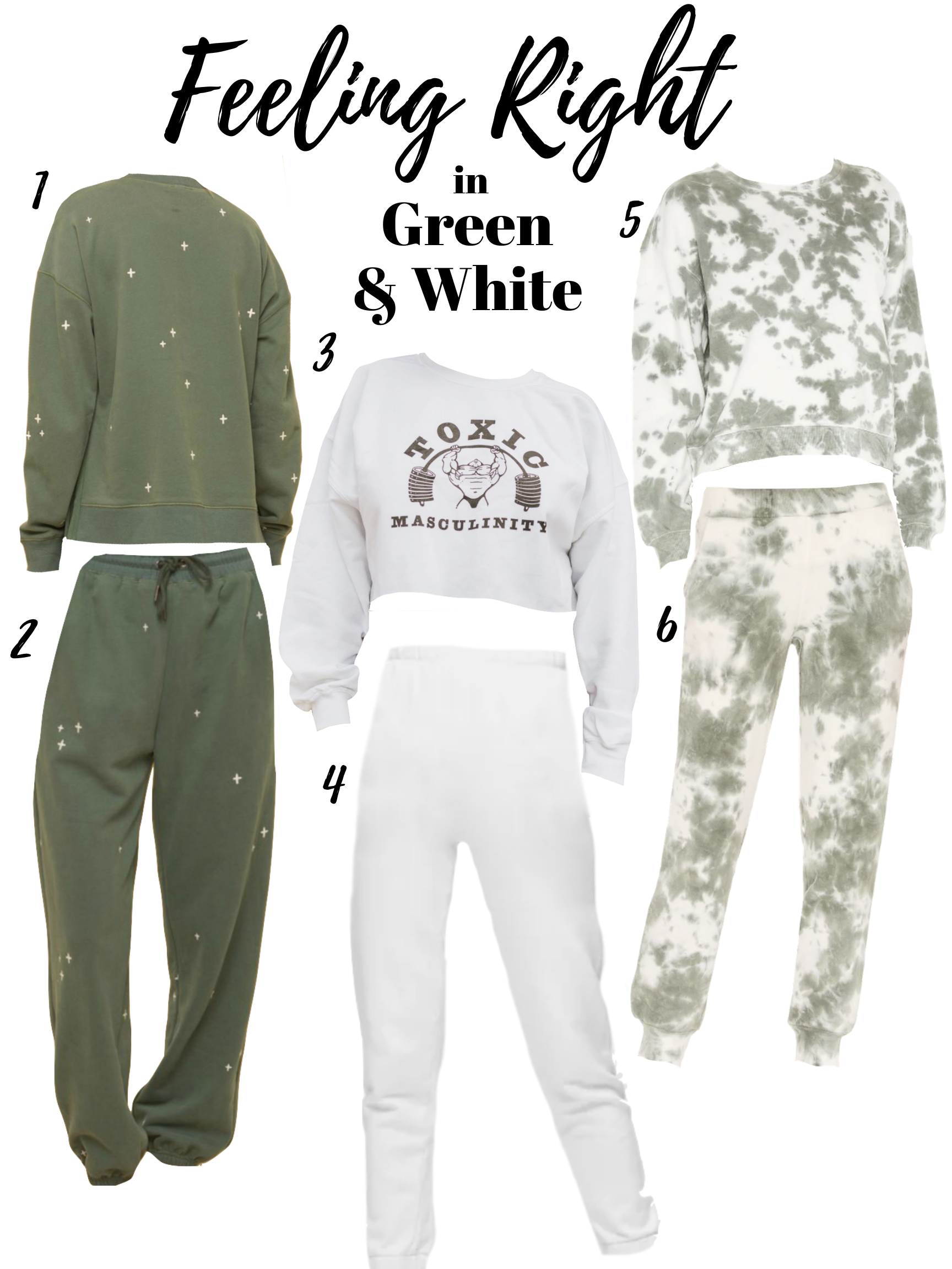 green and white sweat set