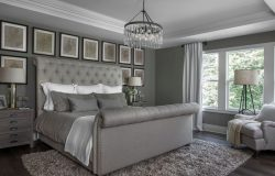 Upstairs master bedroom is finished in a grey, taupe and beige palette for an urban modern look.