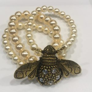 Bee pearl and crystal bracelet