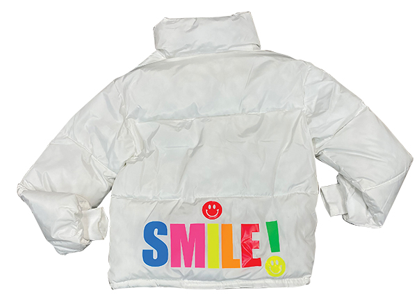 HipChik Couture smile puffer, $300, Guys N Gals