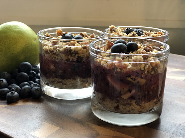 Vegan Blueberry-Pear Crisp by Fresh Chef Detroit