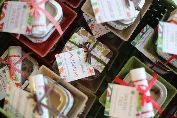 Holiday-themed gift bundles for sale at Green Daffodil.