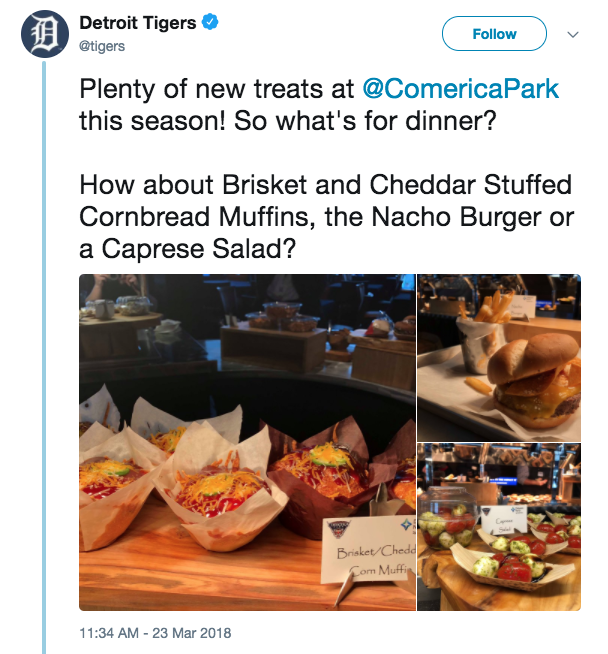 new ballpark food comerica park 2018