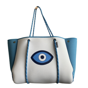 N101TRQEYE/WHITE NEOPRENE TOTE W/EVIL EYE, TURQUOISE PERFORATED SIDES