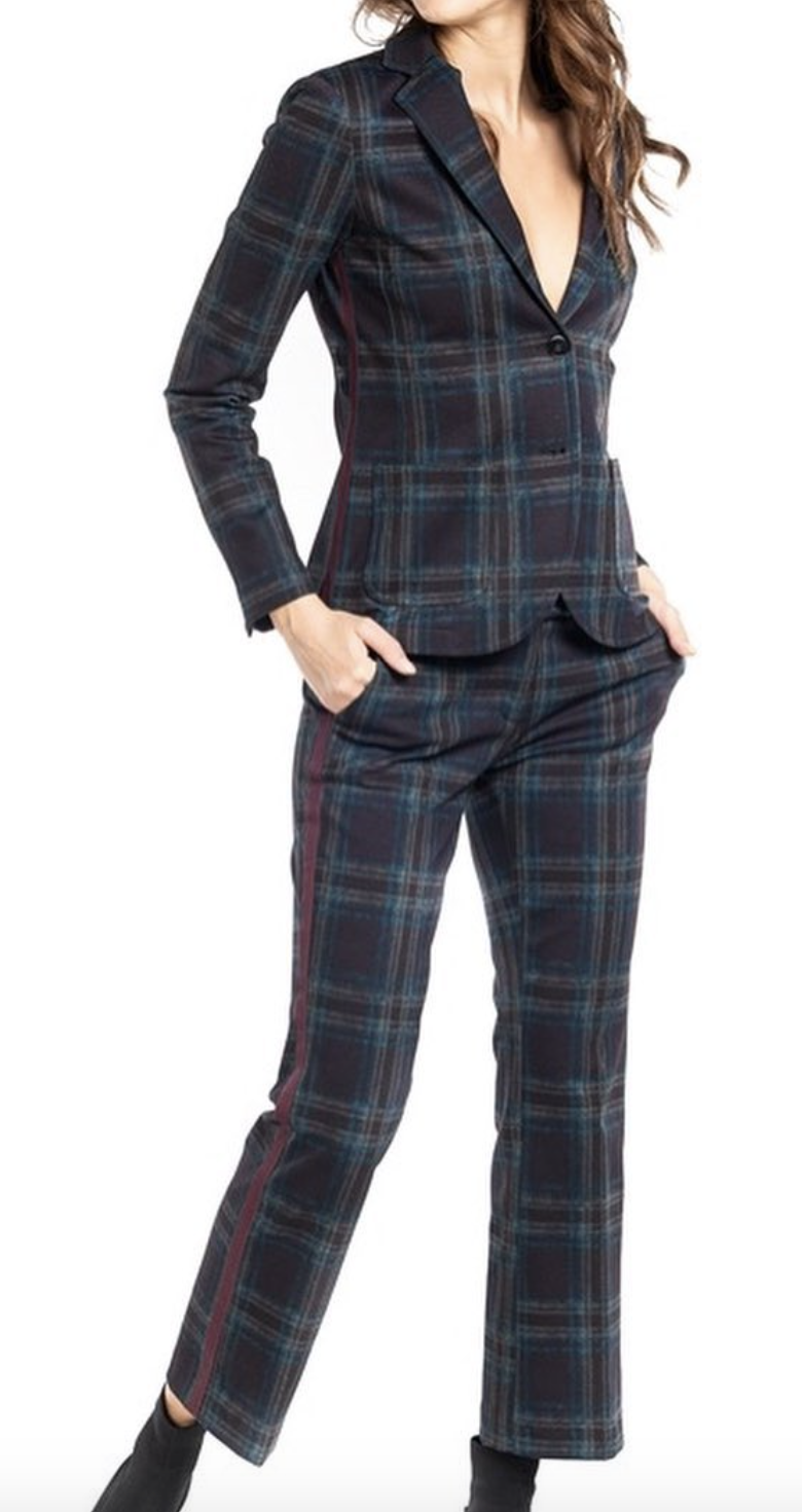 Masons plaid blazer, $451, Guys N Gals and Masons plaid pant, $290, Guys N Gals