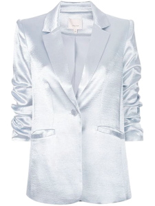 Cinq a Sept silver satin rouched blazer from Guys N Gals