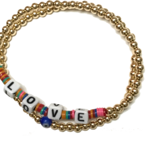 Gold Beaded LOVE Bracelet