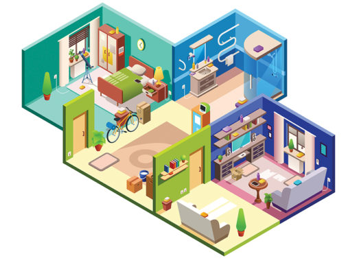 Apartment rooms vector cross section illustration