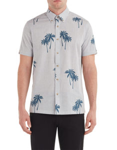 Short-sleeve palm print button down from Untied On Woodward