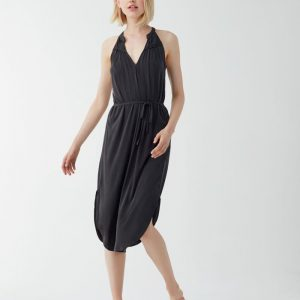 Splendid Sandwash Jersey Tie Waist Dress (Black)