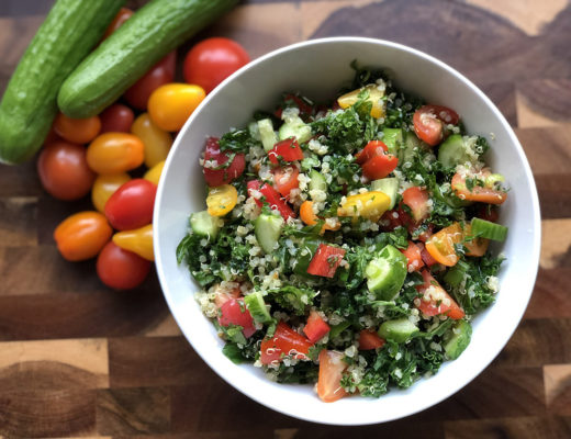 kale and quinoa tabbouleh salad